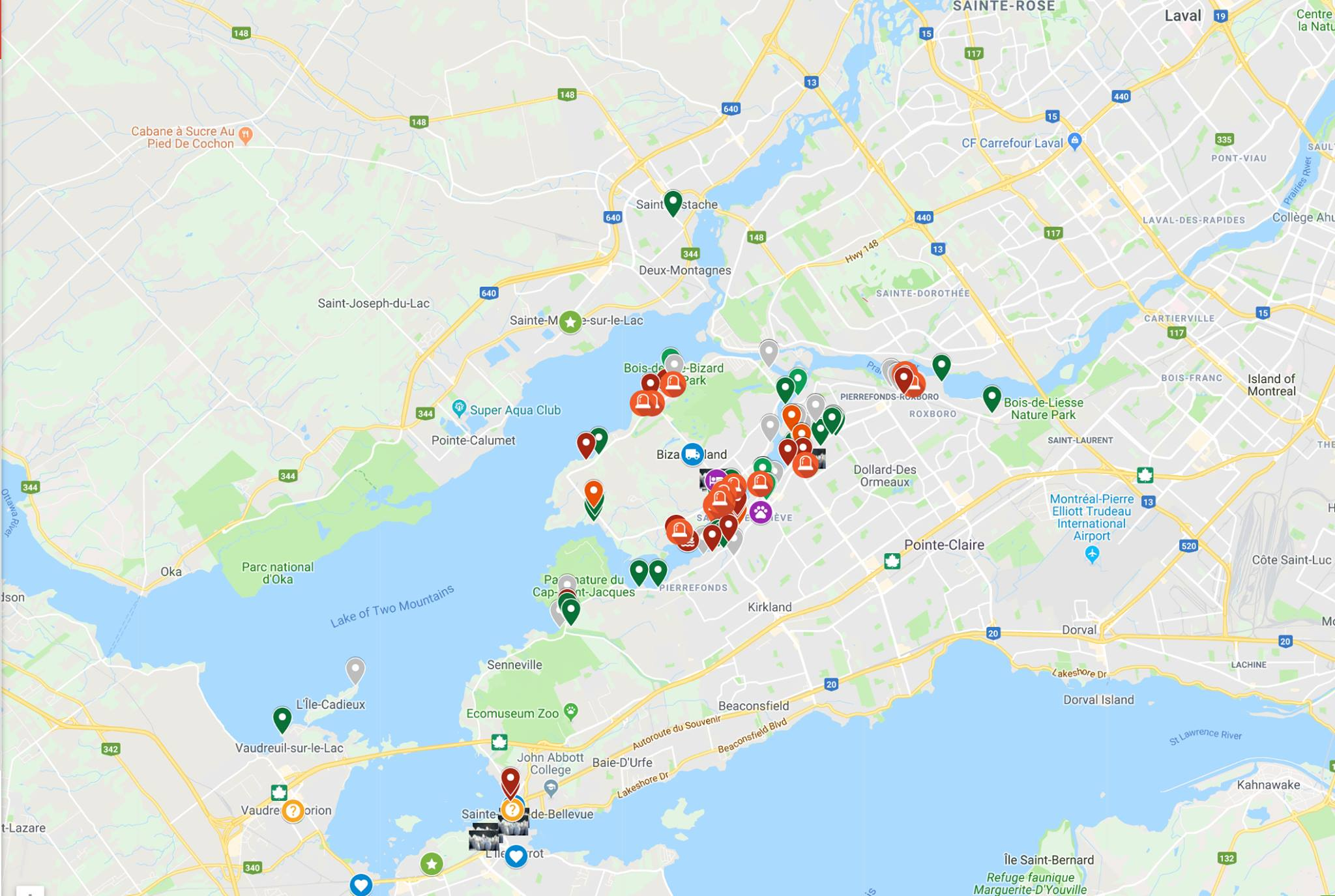 Google My Maps map of requests for volunteers Montreal spring floods