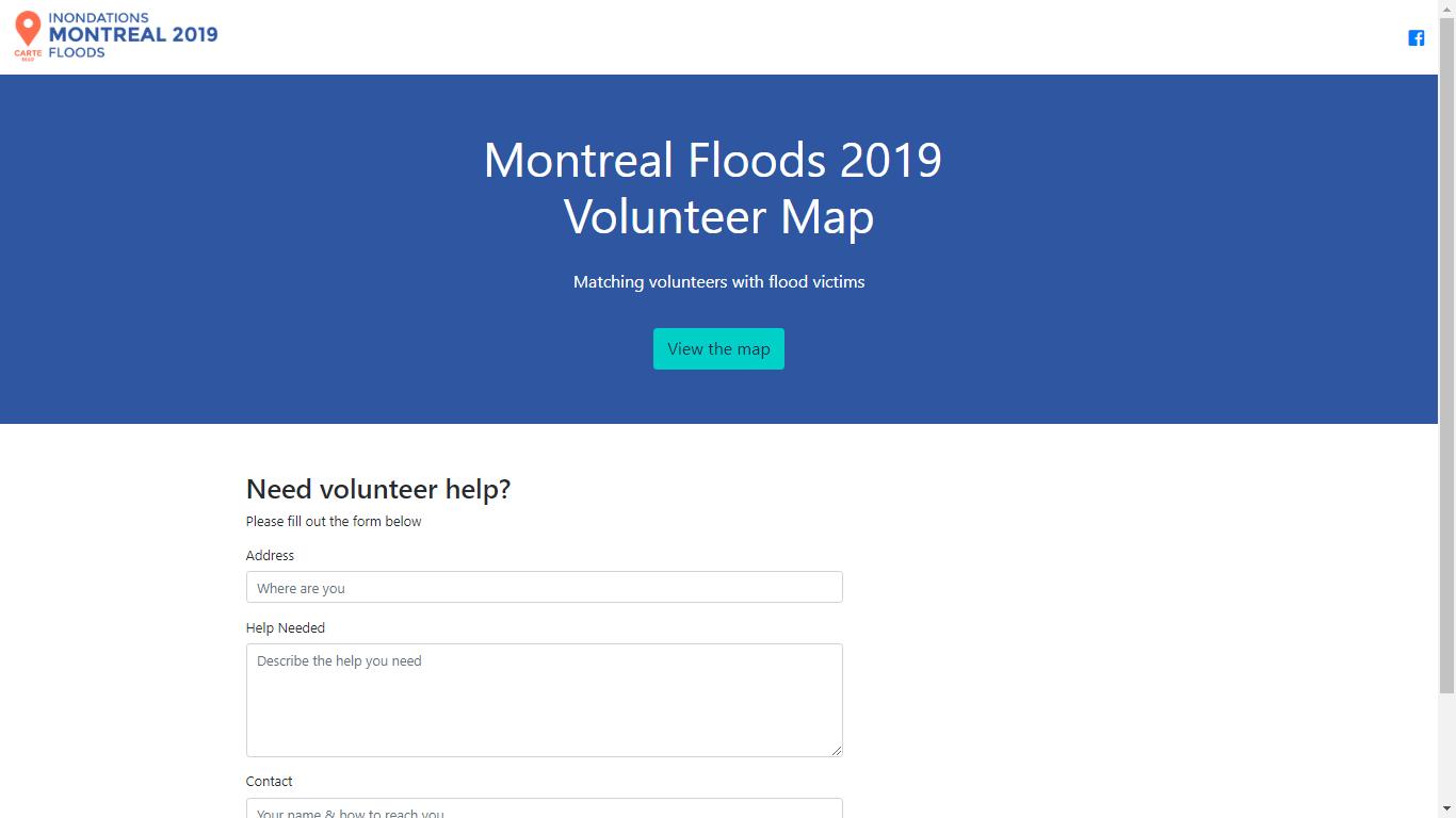 montreal floods 2019 volunteer map landing page
